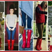 red hunter boots collage 2