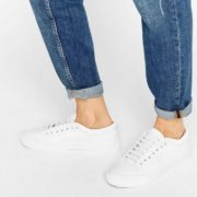 UK-Whitewhiteunisex-Fred-Perry-Kendrick-Tipped-Cuff-White-Leather-Trainers-Shoes-Women-Size-7-UK